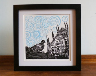Pigeon in Milan, Duomo di Milano, Milan Cathedral,  Original Linocut, Signed Open Edition, Free Postage in UK, Printmaking, block print