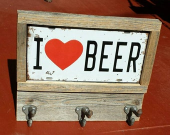Free shipping!  I Love Beer  Coat, keys or cap holder, rustic style, license plate with three  hooks