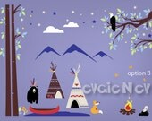 Children Wall Decals - Teepee and First Nations Camp with Canoe, Campfire, Eagle, Black Bear and Mountains - PLFN010