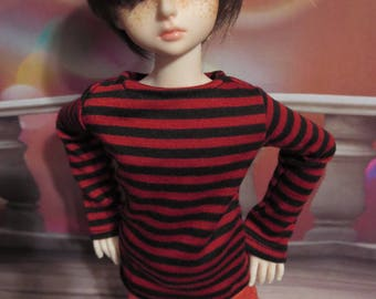 Red and Black Stripe 45cm/MSD BJD Shirt