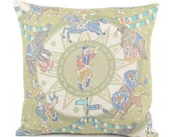 """Nursery Circus Theme Throw Pillow Cover 18x18"""" Green, Travel Theme Nursery, Elephant Nursery Pillow, Circus Pillow, Big Top Dreams"""