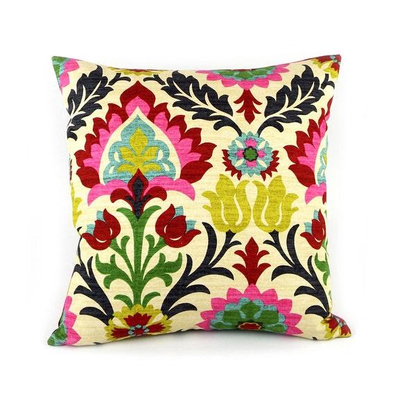 Colorful Floral Pillow Cover 20x20 to Chevron Pillow, Mexican Pillow, Apartment Decor, Sofa Pillow, Bohemian Decor Boho, Cinco de Mayo