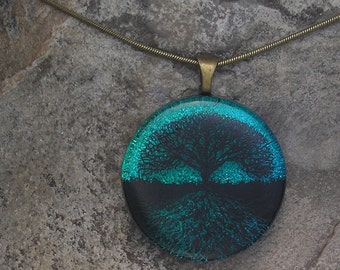 Earthy Tree of Life Necklace Dichroic Glass Tree Pendant