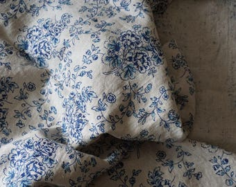 Pure linen fabric with print blue flowers on linen background  / luxury fabric