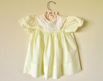 Pastel Yellow Vintage Baby Toddler Girl Dress, apx 12 months