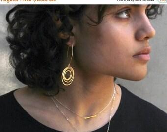 20% off. Mod Gold Silver or Black Circle earrings. Long Eternity Hoop Earrings. Statement Earrings. E-G-2025