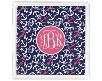 Personalized Square Lucite Tray - Monogram Vanity / Perfume Tray - 3 Sizes - Hostess Gift - Decorative Tray - Preppy nautical Anchor