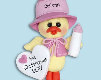 Baby Girl Chick  1st Christmas Personalized Baby Ornament - Limited Edition