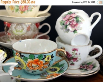 6 Matching Sets Cups and Saucers Lot - Tea Party or Vintage Wedding Favors - Bulk Teacups 13892