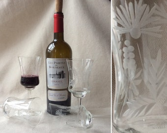 MidCentury French Etched Dessert Wineglasses - Crystal Glasses -WineTasting Party