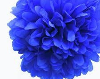 Bright Blue Tissue Pom Pom 6 or 10 inch Set of 2 /Weddings/Showers/Birthdays/Parties