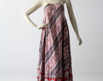 vintage 70s India cotton dress, boho print sundress