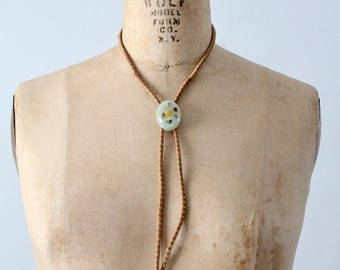 vintage bolo tie, leather shoestring necktie with pastel pendant slide