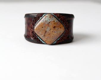 vintage leather cuff with stone inlay, boho bracelet