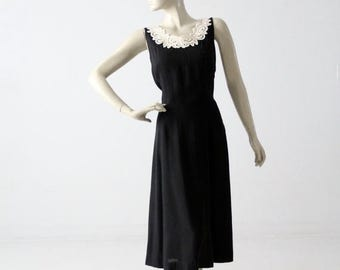 SALE vintage black dress with lace appliqué