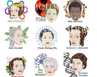 9 women in Science Temporary Tattoos