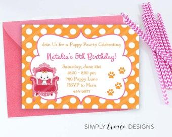 SALE Puppy Party Invite Puppy Invitation 5x7 Jpeg DIGITAL File