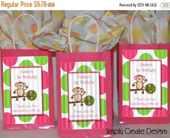 SALE Mod Monkey Party Favor Tag Baby Shower Girl DIGITAL FILE 4x6 Jpeg Digital File Personalized