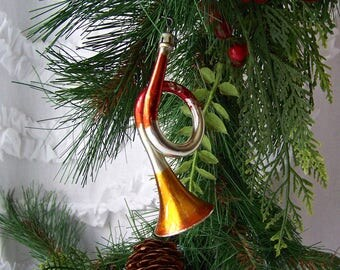 Vintage Christmas Ornament French Horn Glass Ornament Musical Instrument Poland Mid Century Holiday Decor 1960s