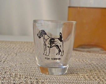 Vintage Shot Glass Fox Terrier Barware Dog Lover's Shot Glass Mid Century Modern Mad Men 1950s