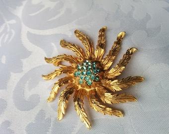 Vintage Sunburst, Flower Brooch with Aqua Crystals