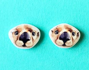 Otter Earrings - Cute Otter - Adorable Baby Otter - Cute Birthday Gift - Otter Baby - Sea Otter - Cute Earrings - Stocking Stuffer - Teen
