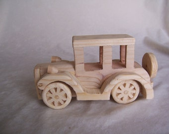 Toy Model T Sedan Car Handcrafted from Upcycled Wood for Kids and Adults