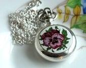 Secret Bug In The Garden Necklace - Vintage Fun Floral Pocket Watch Pendant