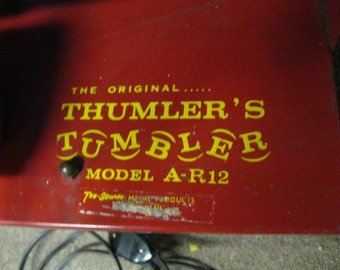 Vintage Tru-square The Original Thumler's Tumbler A-R12 Heavy Duty Lapidary Rock Polishing Tumbler Red Steel Hexagon Barrel & Base Working