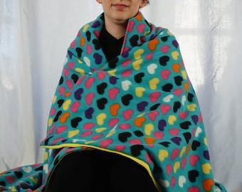 Blue hearts fleece blanket, throw blanket, lap blanket