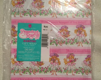 Vintage Peppermint Rose Scented Gift Wrap One Sheet Scrap Booking Gift Wrap Crafts