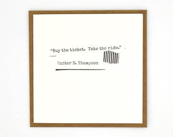 Letterpress Gift Card / Card / Quote / Thompson / Letterpress Cards / Letterpress Stationery / Letterpress Stationery / Greeting Card