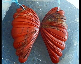 New,Carved Red River Jasper Gemstone Earring Bead,49x25x5mm,21.81g,-CE187