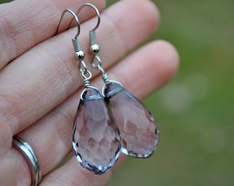 Blue Grey Faceted Teardrops . Earrings