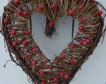 Valentine Wreath  Heart Wreath  Berry Wreath  Rustic Heart Wreath Valentine Gift  Weddiing Wreath  Rustic Wedding