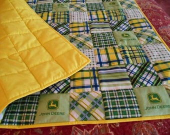 "Handmade Baby Quilt  Yellow Madras Plaid Patch  Toddler Bed or  Crib Size  Quilt Comforter  36 "" x  56 ''"