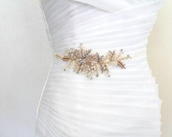 Gold Leaf Vine Opal Pearl Bridal Sash. Gold Ethereal Delicate Swarovski Crystal Boho Wedding Belt. Bridal Wired Appliqued Sash.
