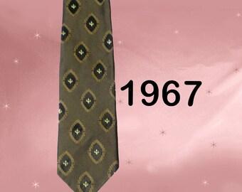 Classy Necktie - Black and Gold Tie - 60s Retro Necktie - Classic Mens Vintage Neck Tie with Fleur de Lis - Vintage Necktie Gift for Dad
