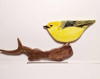 Yellow finch bird mosaic tile and branch tile  Hand Made Hand Painted Kiln Fired