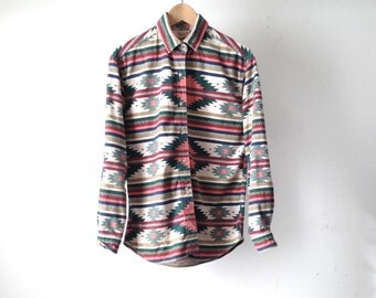 woolrich SOUTHWEST flannel 90s bright SLOUCHY ikat style TRIBAL pattern womens shirt