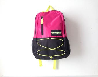 90s NEON color block  BACKPACK adventure school KNAPSACK book bag nylon