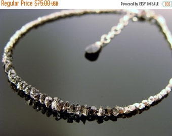 Genuine Black Raw Rough Uncut Diamond Sterling Silver Bracelet or Necklace