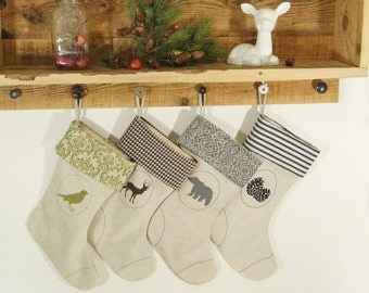 Personalized Christmas Stockings - Rustic Christmas Home Decor - Your custom options of Monogram / Nature inspired image, color and pattern