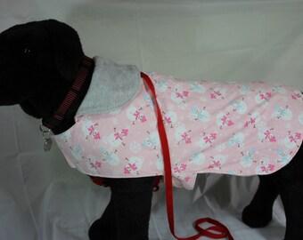 Medium Fleece Pink Snowman Pet Coat