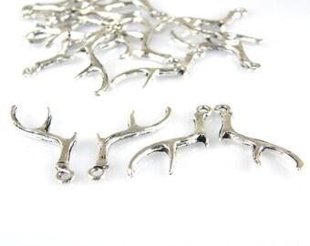 Deer Antler Charms, Deer Antler Pendants, Antler Charms, (6) Pewter P002