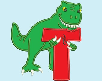T-rex dinosaur Birthday Letter  Custom Letter, only one any letter to choose from the set  Birthday outfit designs for hoops 4x4, 5x7, 6x10