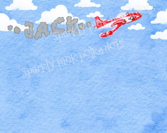 Airplane | Flying | Clouds | Sky | Boy's Baby Notecard Set | Note cards | Watercolor | Blue | Flight