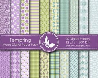 40% off Tempting Mega Paper Pack - 20 Printable Digital papers - 12 x12 - 300 DPI