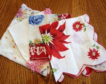 Vintage Women's Handkerchiefs - Lot of 4