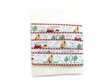 Vintage French Trim, Red, Green, Embroidered Trim, Countryside Trim